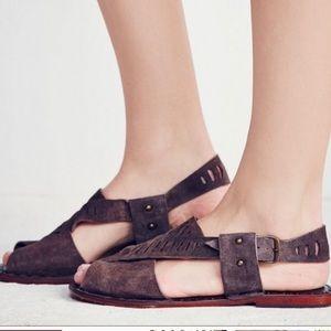 Free People Big Dipper Brown Leather Suede Sandal